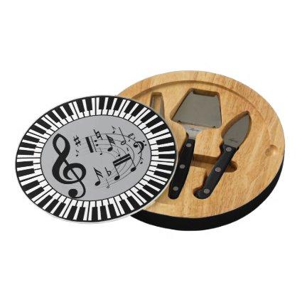 Circular Piano Keys and musical notes Round Cheeseboard
