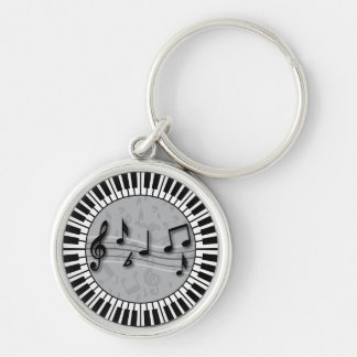 Circular Piano keys with musical notes centre Silver-Colored Round Keychain