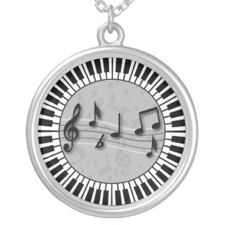Circular Piano keys with musical notes centre Silver Plated Necklace