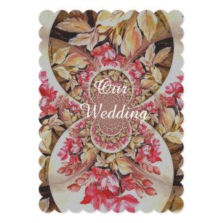 Circular poppy pattern wedding card