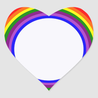 Circular Rainbow design Heart Sticker