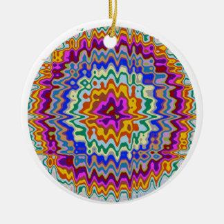 Circular rainbow waves ceramic ornament