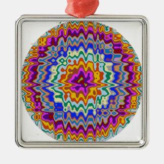 Circular rainbow waves metal ornament