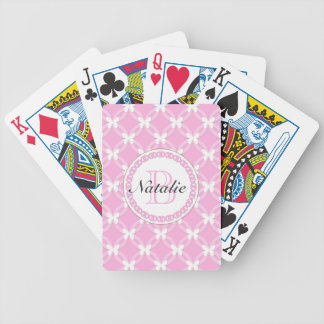 Circular Repeating Pattern Pink White Butterflies Bicycle Poker Cards