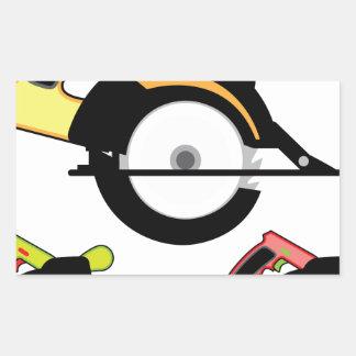 Circular saw isolated rectangular sticker