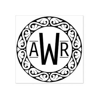 Circular Scrollwork Frame Initials Wood Stamp