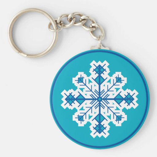 Circular Snowflake Key Chains