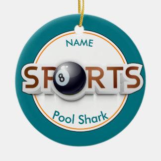 Circular SPORTS Logo & BILLIARD BALL Personalize Ceramic Ornament