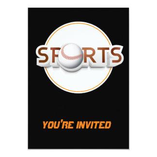 Circular SPORTS Logo with BASEBALL 5x7 Paper Invitation Card