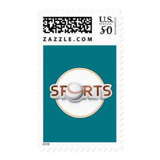 Circular SPORTS Logo with BASEBALL Postage
