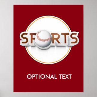 Circular SPORTS Logo with BASEBALL Poster