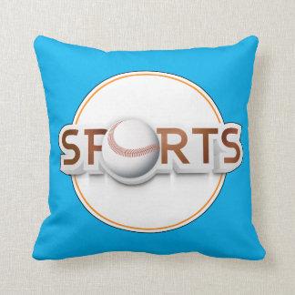 Circular SPORTS Logo with BASEBALL Throw Pillow