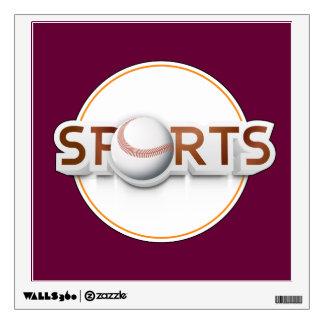 Circular SPORTS Logo with BASEBALL Wall Decal