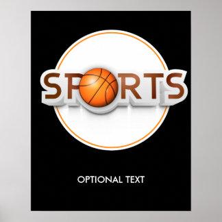 Circular SPORTS Logo with BASKETBALL Poster