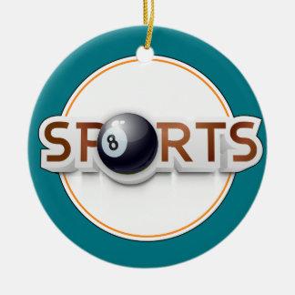 Circular SPORTS Logo with BILLIARD BALL Ceramic Ornament
