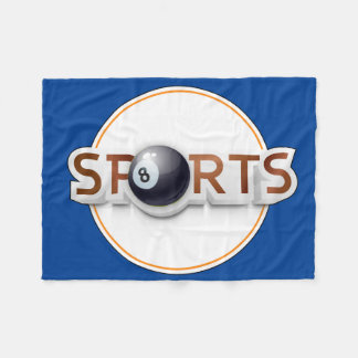 Circular SPORTS Logo with BILLIARD BALL Fleece Blanket