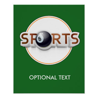 Circular SPORTS Logo with BILLIARD BALL Poster