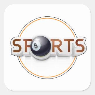Circular SPORTS Logo with BILLIARD BALL Square Sticker