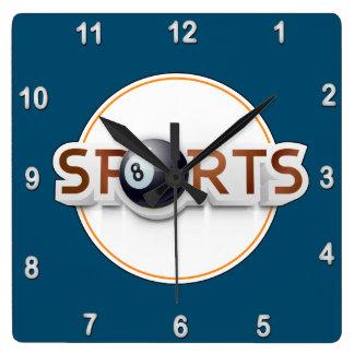 Circular SPORTS Logo with BILLIARD BALL Square Wall Clock