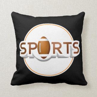 Circular SPORTS Logo with FOOTBALL Throw Pillow