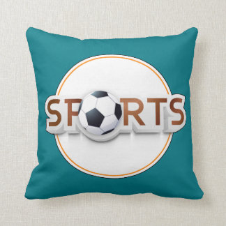 Circular SPORTS Logo with SOCCER BALL Throw Pillow