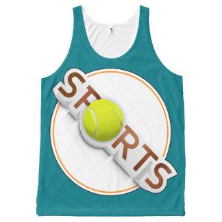 Circular SPORTS Logo with TENNIS BALL All-Over-Print Tank Top