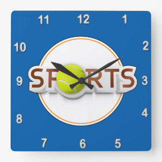 Circular SPORTS Logo with TENNIS BALL Square Wall Clock