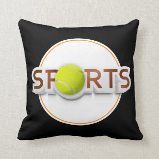 Circular SPORTS Logo with TENNIS BALL Throw Pillow