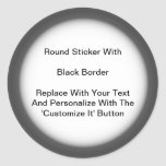 Circular Stickers Black Gray Border In Sheets at Zazzle
