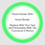 Circular Stickers With A Green Border In Sheets at Zazzle