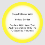 Circular Stickers With A Yellow Border In Sheets at Zazzle