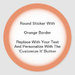 Circular Stickers With An Orange Border In Sheets at Zazzle