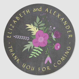 Circular Text Chalkboard Floral Wedding Thank You Classic Round Sticker