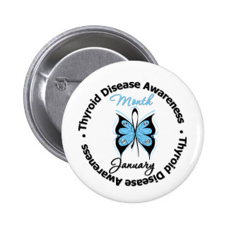 Circular Thyroid Disease Awareness Month Butterfly 2 Inch Round Button