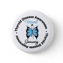 Circular Thyroid Disease Awareness Month Butterfly Pinback Button