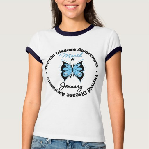 Circular Thyroid Disease Awareness Month Butterfly Tee Shirt