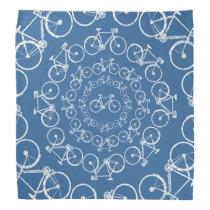 circular white bicycles pattern bandana
