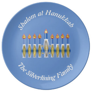 Circular White Custom Text on Blue with Menorah Dinner Plate