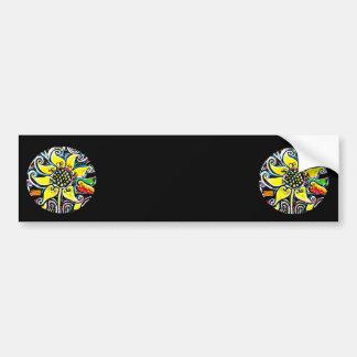 Circular Yellow Flower on Black Background Design Bumper Sticker