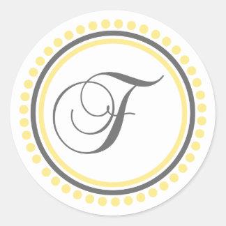 Círculo amarillo/gris del monograma de F (del Pegatina Redonda