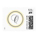 Círculo amarillo/gris del monograma de O (del punt Sellos
