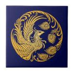 Círculo amarillo tradicional de Phoenix en azul Tejas
