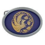 Círculo amarillo tradicional de Phoenix en azul Hebilla Cinturon
