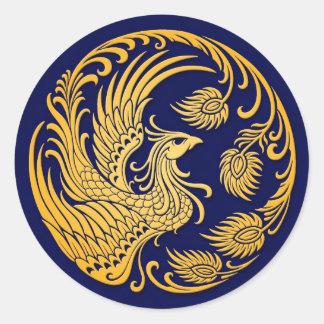 Círculo amarillo tradicional de Phoenix en azul Pegatinas Redondas
