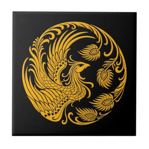 Círculo amarillo tradicional de Phoenix en negro Azulejos Cerámicos