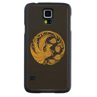 Círculo amarillo tradicional de Phoenix en negro Funda De Galaxy S5 Slim Arce