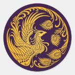 Círculo amarillo tradicional de Phoenix en púrpura Etiqueta Redonda