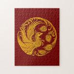 Círculo amarillo tradicional de Phoenix en rojo Rompecabeza