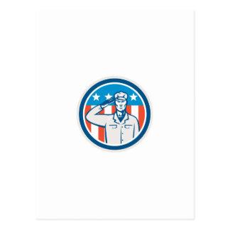 Círculo americano de la bandera del saludo del sol postal