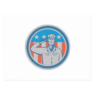 Círculo americano de la bandera del saludo del sol tarjeta postal